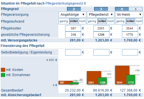 Screenshot Pflegeanalyse